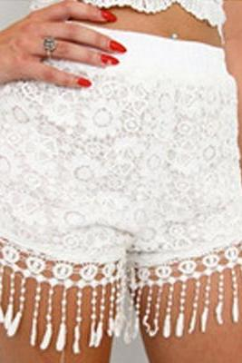 Beautiful White Tassel Design Floral Lace Shorts