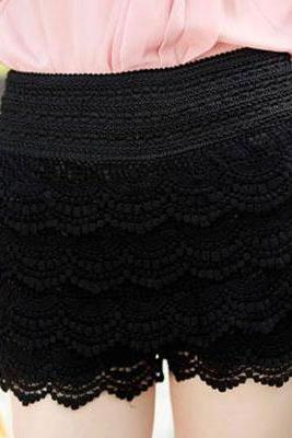 Elastic Waist Black Lace Shorts