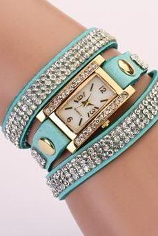 Rhinestones Wrap blue Dress Pink Pu Leather Fashion Woman Watch