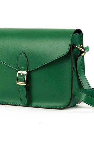 Messenger Shoulder PU green Leather Woman Handbag