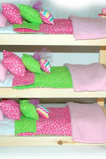 Triple Doll Bunk Bed - Cotton Candy American Made Girl Doll Bunk Bed - Fits AG Doll and 18 inch dolls