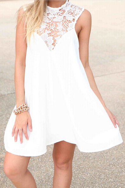 Sleeveless Halter Lace Casual Shift Short Dress with Keyhole Back
