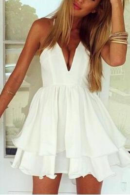 Sexy Suspenders White Dress