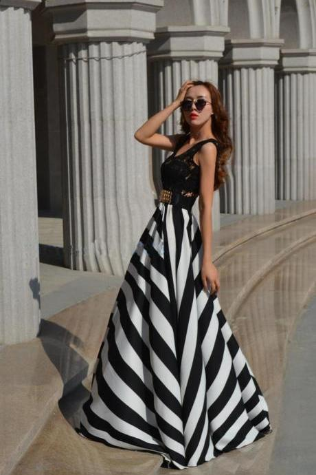 Elegant Black And White Long Dress With Lace Detail