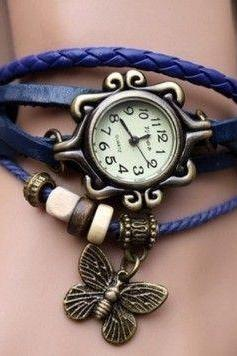 Vintage Bracelet Wrap blue Leather Butterfly Girl Watch