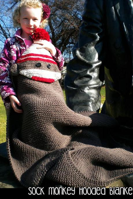 Sock Monkey Hooded Blanket Knitting Pattern