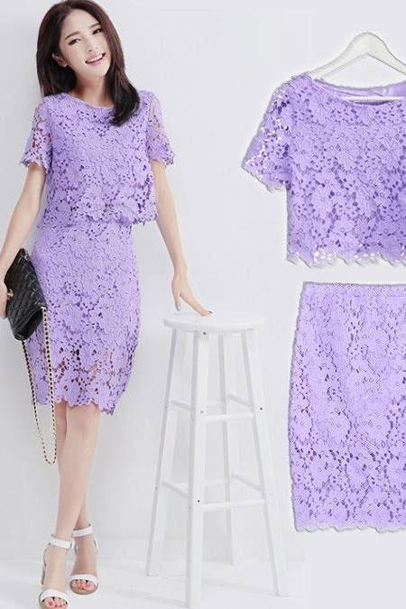 Sweet Purple Hollow Out Hook Lace OL Dress