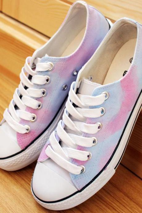 Pink Tie Dye Hand Painted High Top Canvas Sneakers