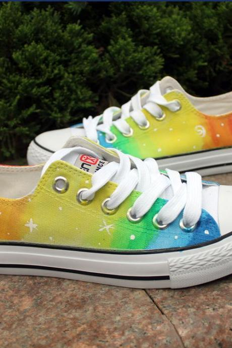 Rainbow Color Stars Pattern Hand Painted Canvas Sneakers