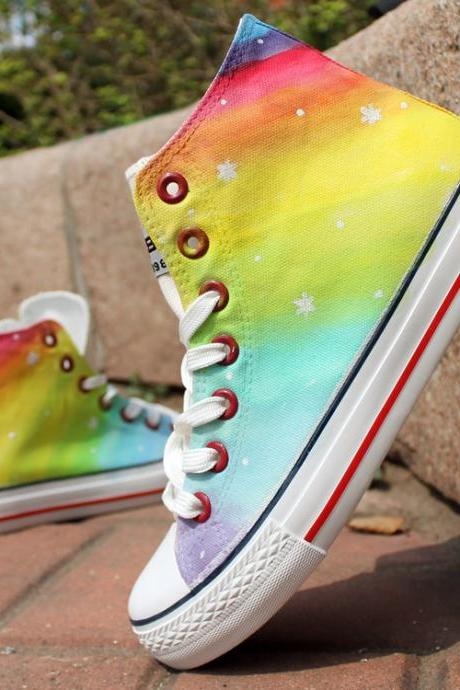 Stars Pattern Rainbow Color Hand Painted High Top Canvas Sneakers