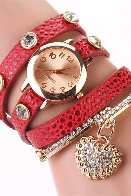 Dress Watch Wrap red leopard Watch Leather Band Watch