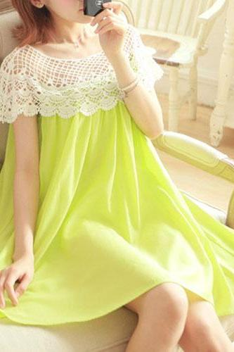 fashion Candy Color Crochet Lace Shawl Loose Shift Dress