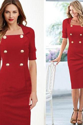 Sexy Fashion Solid Color Double-Breasted Half Sleeve Dress