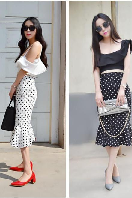 Fishtail Hem Design Polka Dot Skirt Two-Pieces Suit MPi