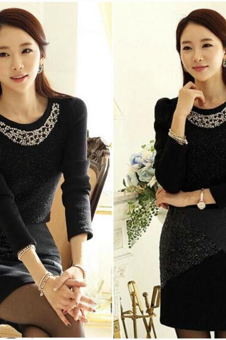 Gorgeous Beaded Black Long Sleeve Blouse