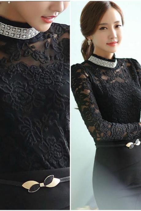Black Turtle Neck Long Sleeve Lace Blouse