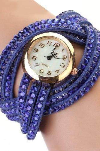 PU leather blue band rhinestones fashion woman watch