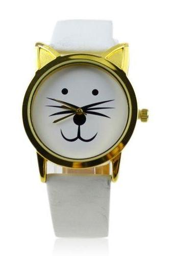 Cat ears mustache girl fashion white band watch