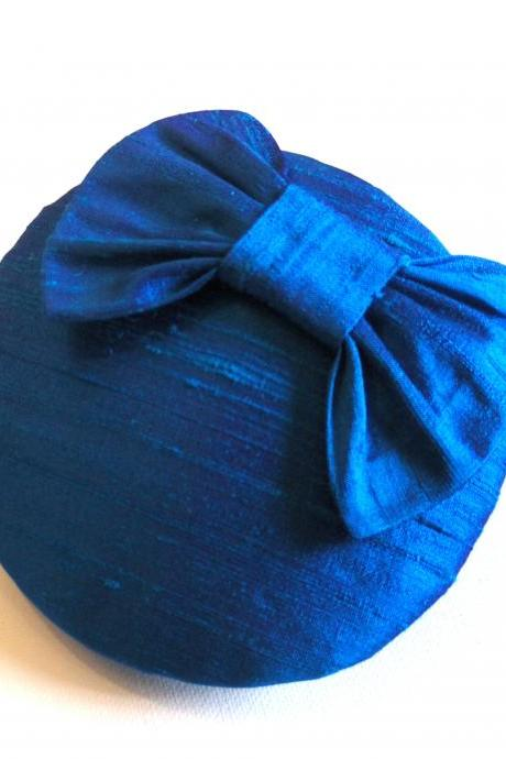 Silk bow cocktail hat, peacock blue.