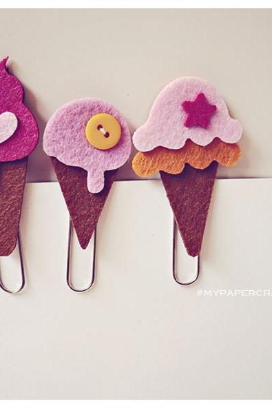 3 ice-cream felt paper clips