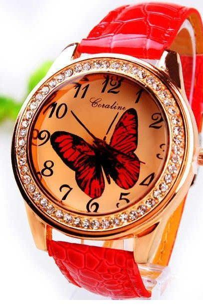 Butterfly Rhinestones Dress red Leather Girl Watch