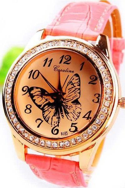 Butterfly Rhinestones pink Dress Leather Girl Watch