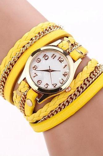Chain and leather yellow bracelet wrap schoolgirl watch