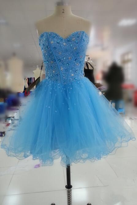 Handmade Blue Tulle Short Prom Dresses 2016, Homecoming Dresses 2016, Formal Dresses, Grduation Dresses