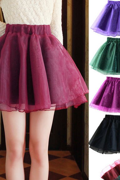High Waist Pure Color Slim Organza Mini Short Skirts