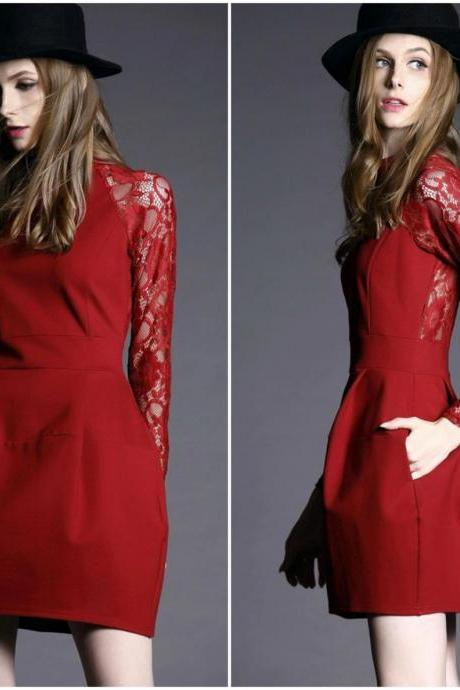 Fabulous Red Dress With Lace Sleeves