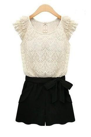 Sexy Black And White Lace Jumper-Suite