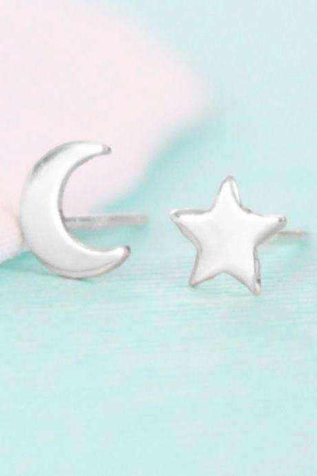 Moon and Star Stud Earrings - Sterling Silver