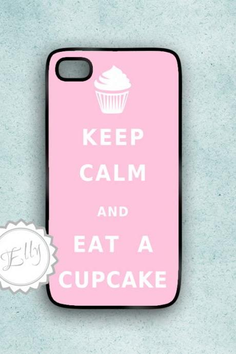 Cupcake iPhone Pink Case Keep Calm and Eat Custom Color and Text