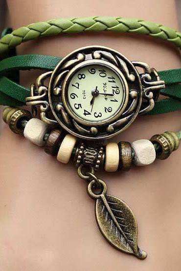 Sexy Leather Wrap Watch Leather Band Wrist Watch Women Wrist Watches With Vintage leaf Leather Watch Bracelet