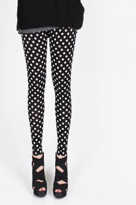 Fashion Cute Black Polka Dots Leggings