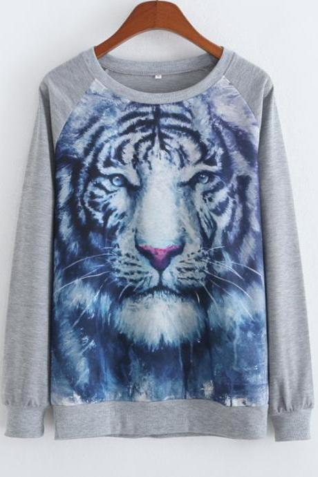 Fashion Loose And Long Sleeve Sweater Tiger Printing