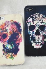 Punk Flower Skull Painted Iphone Cases For Iphone 4/4s/5