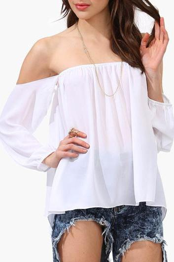 White Off-The-Shoulder Long Cuffed Sleeved Top