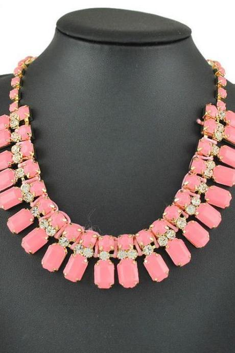 Pink Faceted Bead and Rhinestone Statement Bib Necklace