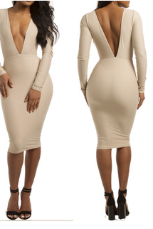 Deep V V after sexy tight bandage dress dress dress sexy nightclub render skirt