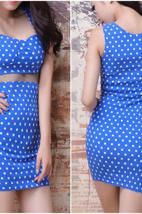 Gorgeous Blue Polka Dots Sleeveless Dress