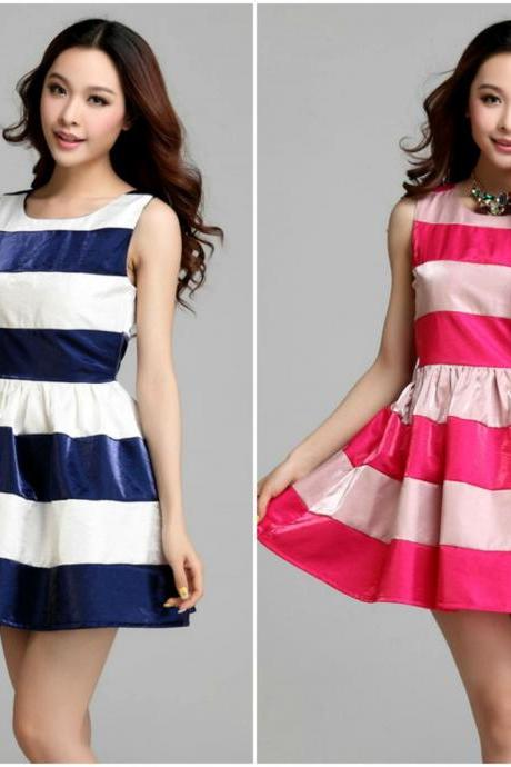 Gorgeous Stripes Chiffon Dress In Blue And Rose Red
