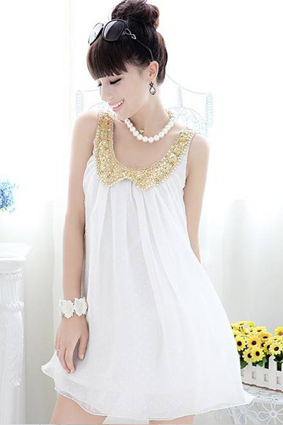 Gorgeous Doll Collar White Chiffon Dress