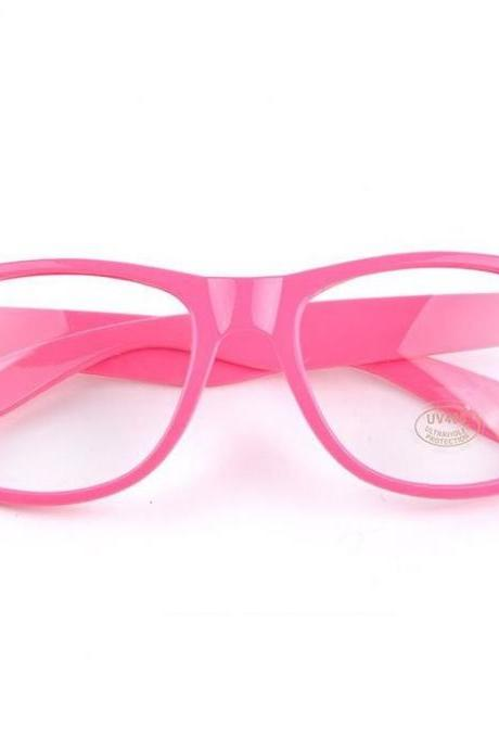 Clear lenses pink wayfarer fashion trendy unisex glasses