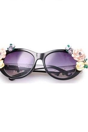 Flowers teen black fashion summer fun woman sunglasses