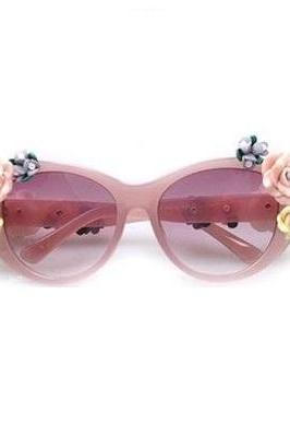 Flowers teen pink fashion summer fun woman sunglasses