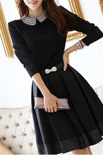 Collar black A Line Dress