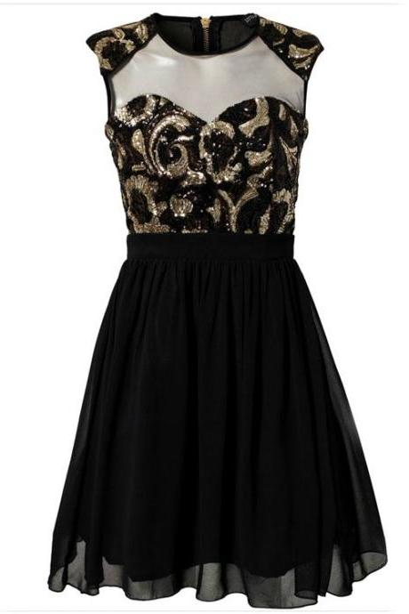Black Sequin Short Chiffon Party Dress with Illusion Sweetheart Neckline