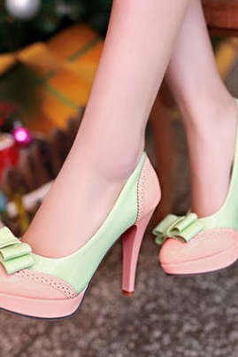 Cute Bow Design High Heel Fashion Shoes--pink