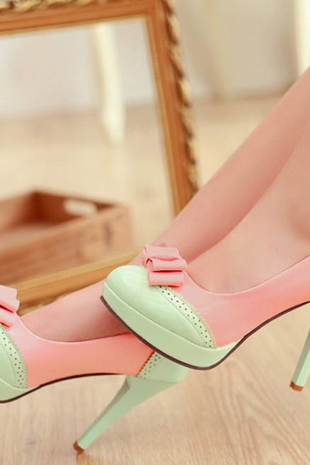 Cute Bow Design High Heel Fashion Shoes--green